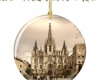 Barcelona Christmas Ornament in Spain, Porcelain Barcelona Christmas Ornaments, Barcelona Cathedral