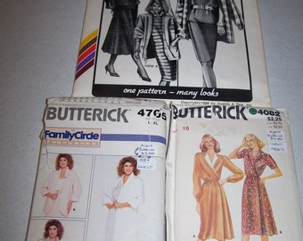 Vintage 1980s Butterick, Stretch and Sew Sewing Patterns Sizes 16, L/XL CUT & UNCUT