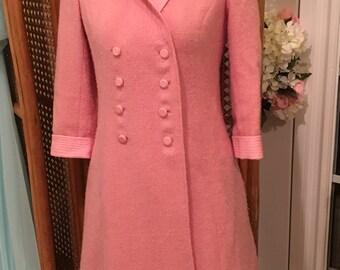 I.Magnin 1960s pink vintage wool coat