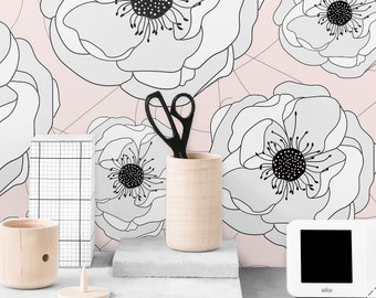 Anemone Removable Wallpaper / Nursery Self Adhesive Wallpaper / Floral Wall Mural / Flower Wall sticker- CM035