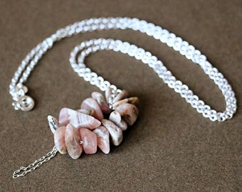 Necklace, Pink Rhodonite and Sterling Silver Chain