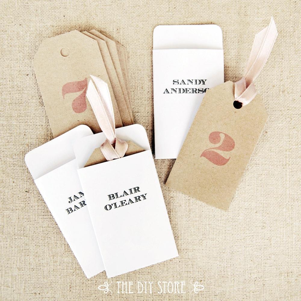 Escort Card Tags and Envelopes DIY Printables 100% Text