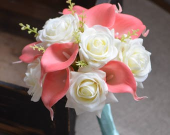 Coral Bridesmaids Bouquet Ivory Roses Coral Calla Lilies Real Touch Flowers Silk Flower Wedding Bouquets
