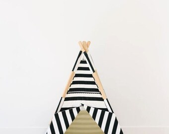 all black and white striped teepee