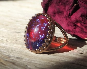 Dragons Breath Opal Ring - Large Mexican Fire Opal Ring - Rose Gold Fire Opal Ring - Rose Gold Dragons Breath - Rose Gold statement Ring