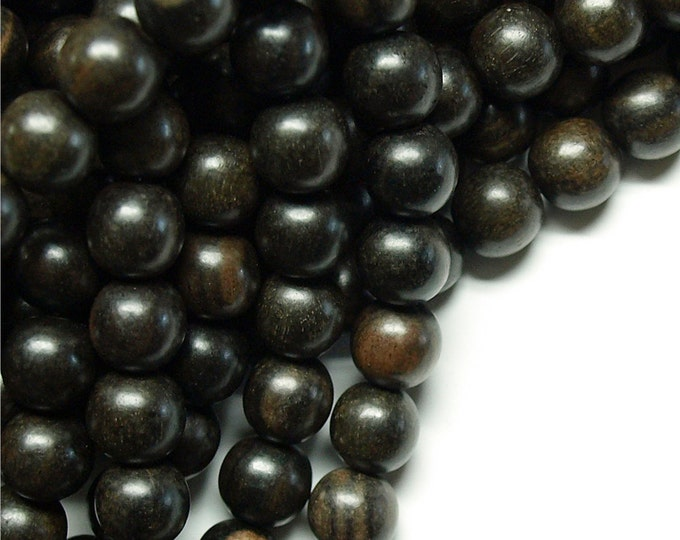 Wood Bead, Round 10mm, Tiger Ebony - Five 16 Inch Strands (WDRD-10TE)