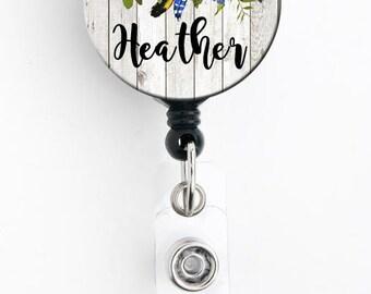 Retractable ID Badge Holder - Rustic Sunflower Floral - Personalized Name Badge Reel, Steth Tag, Lanyard, Carabiner Nurse Badge