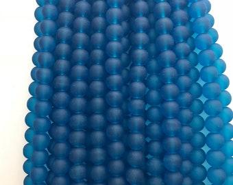 10mm blue matte beads