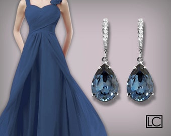 Blue Crystal Wedding Earrings Denim Blue Rhinestone Earrings Swarovski Dark Blue Silver Earrings Teardrop Dangle Earrings Bridesmaid Jewelry
