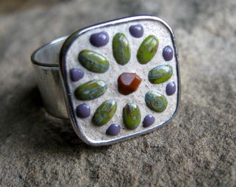 Beaded Mosaic Ring-Wearable Mosaic Art-Mini Mosaic-Micro Mosaic-Floral Ring-Czech Glass-Antiqued Silver-Wide Band-Adjustable Ring