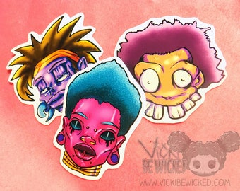Urban, Spooky Cartoon Faces, Tribal Inspired, Vinyl Stickers, Laptop Decal