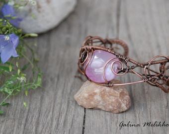 Wire bracelet, copper bracelet, bracelet with agate, copper wire bracelet, Woven Wire Jewelry, Bangle Bracelet, copper Jewelry, pink agate