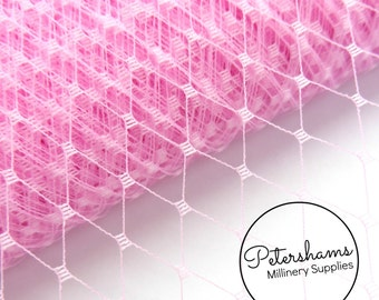 9 Inch (23cm) Russian / French Veiling for wedding blusher veils, fascinators and millinery 1m (1.09 yards) - Candy Pink