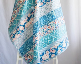 Floral Handmade Lap Quilts, Graduation Gift for Her, Blue floral Strip Quilt, Premium Luxury  Cotton, Soft Homemade Quilt for Sale