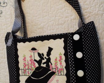 Hand Made Black & White Silhouette Purse,Tote or Hand Bag