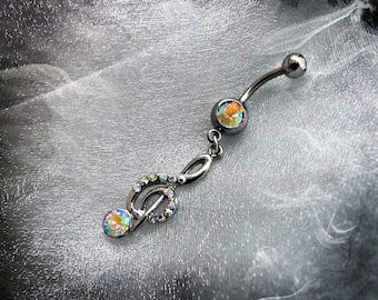 Piercing da ombelico Belly Bar With Treble Clef