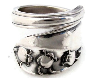 Spoon Ring Lily Of the Valley Sterling Silver Size 7 Wrapped