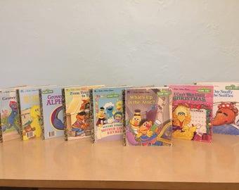 Eight 1980s-90s Sesame Street Little Golden Books - Jim Henson,Muppets, Big Bird, Bert, Ernie, Oscar the Grouch, Grover, Cookie Monster