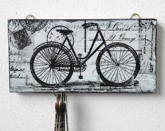Wall key holder - a bike/bicycle wall decor/ small/white key holder/key holder for wall/key rack/key organizer wall/key hanger/rustic/wood