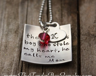Mothers necklace personalized there's this boy who stole my heart necklace with heart monogram and swarovski birthstone