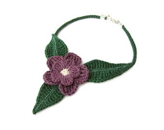 Crochet flower choker, crochet necklace with flower and leaves, fairies lover gift, nature lover gift, spring lovers necklace