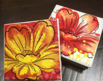 Floral design coasters