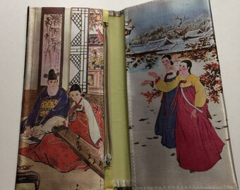 "3 1/4"" x 7 1/2"" Japanese Thin Silky Bi Fold Wallet Scenic Outdoor/Home Koto Kiseru"