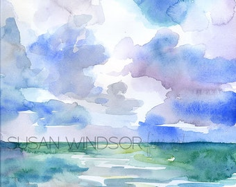 Abstract Watercolor Painting - Ocean and Sky - 8.5x11 - Beach - Seascape Landscape 8 x 10