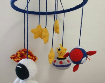 Crochet Space/astronaut baby mobile