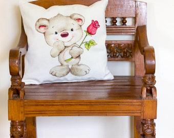 Cute Teddy Cushion, Cute Teddy Pillow, Baby Pillow, Baby Cushion, Teddy Cushion Cover, Teddy Pillow Cover, Teddy Decor | CUS021