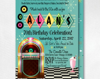 Retro 1950s Birthday Party, 50s Jukebox Invitations, Retro Sock Hop 1950s Theme, Poodle Skirt 50s Party, Rock Around The Clock Party, DI3004