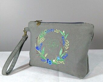 Grey clutch bag Wristlet Wallet Embroidered clutch  Fabric clutch purse Elegance wristlet clutch Gift for her