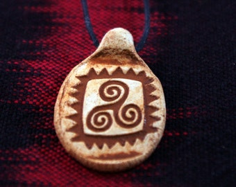 Earth Spiral  Clay Pendant Necklace