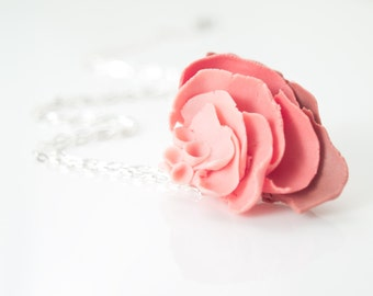 Porcelain Rose Flower Pendant Necklace - IlDeRe  - Ceramic Jewelry