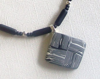 Black and White Striped Checkerboard Pattern Square Polymer Clay Pendant