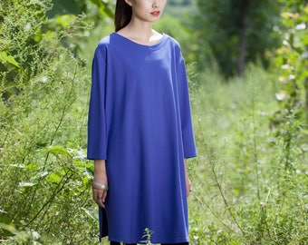 Cotton dress/Tunic - Dress/Tunic fall/winter - Short dress classic - Round Neck - Long sleeves dress - Made to order