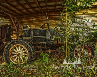 Antique Abandoned Ford; Nature Photography, Rusty Metal, Car, Man Cave Decor, Rural Art, Rural Photography, North Carolina, Photograph Print