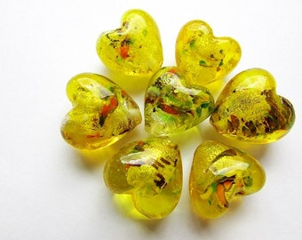 Heart Beads Yellow Glass Beads 20 mm Yellow Heart Beads Lampwork Glass Silver Foil Beads Craft Supplies Jewelry Supply (2)