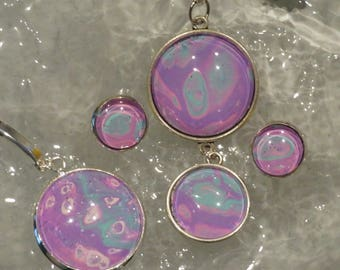 3pcs pink,turquoise,purple, abstract set, wearable art, statement jewelry, custom, hand painted, abstract design, unique and tasteful.