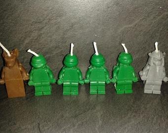 Teenage Mutant Ninja Turtle birthday Candles x 6