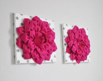Dahlia Flowers Hot Pink Nursery Decor, Flowers Wall Art, Girl Nursery Decor, Kids Wall Art, Polka Dot Decor, SET OF 2 Flower Prints