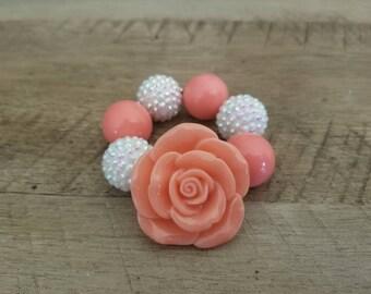 Coral Chunky Bracelet, Coral Chunky Bracelet, Baby Bracelet, Coral Chunky Necklace, Birthday, Cake Smash Bracelet, Photo Prop, Rose Bracelet