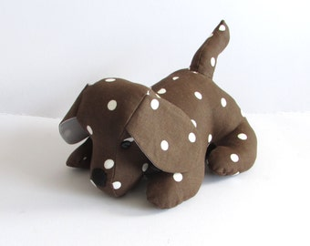 Chocolate Dotty Doggy Doorstop, Home Decor, Handmade, Fabric, Home, Home and Garden, Free Postage