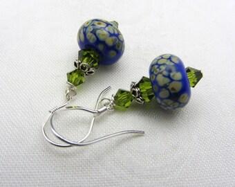 Lampwork Earrings Blue Blue Raku Lampwork Glass Artisan Earrings Sterling Silver Glass Bead Earrings Dangle Drop Handmade Earrings SRAJD