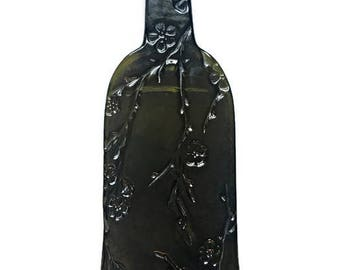 Melted Wine Bottle Cheese Tray with Elegant Kiln-Carved Cherry Blossom Design and Your Optional Choice of Spreader