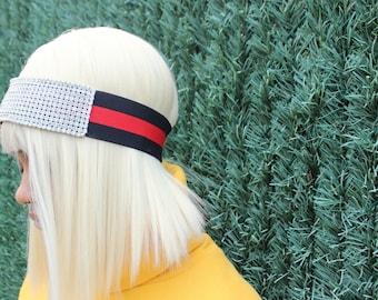 Gucci Inspired Crystal Headband Elastic Blue and Red Strap, Crystal Headband,  Swarovski Headband, Elastic Blue Red Strap Crystal Headband