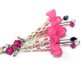 Lucite Trumpet Flower Earrings - Pink fluted flowers-  Silver Filigree Cone