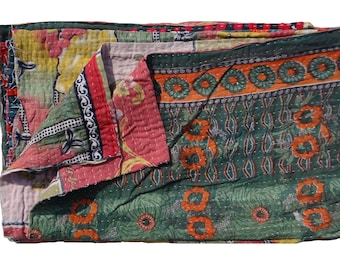Reversible Twin Size Quilt ,One of Kind,Indian Handmade ,Vintage Kantha Quilt ,Ethnic Floral Design ,Throw Quilt #1005