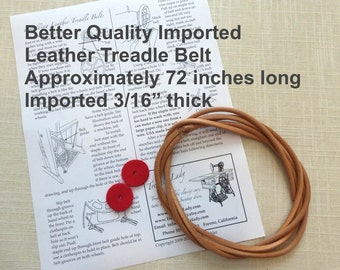 "Better Quality Imported Leather Treadle Sewing Machine Belt 3/16"" & 72"" Long for Foot Powered Sewing Machines Singer Jones White and others"