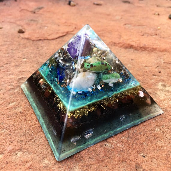 Cosmic Orgonite® Pyramid- with Titanium Shavings- Astral Travel- Empath Protection Orgone Energy Pyramid- Pyramid Energy Healing Orgone